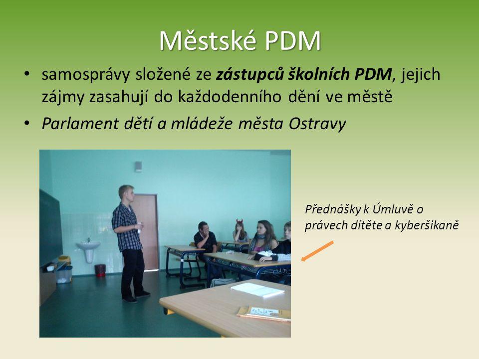 Městské PDM samosprávy složené ze zástupců školních PDM, jejich zájmy zasahují do každodenního dění ve městě.