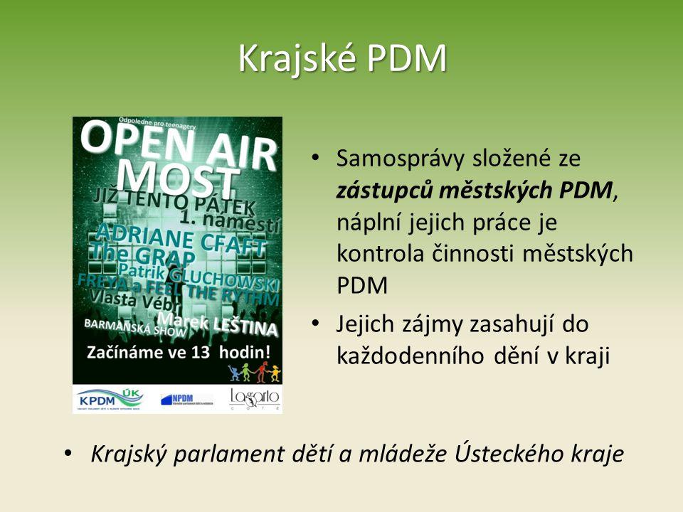 Krajské PDM Samosprávy složené ze zástupců městských PDM, náplní jejich práce je kontrola činnosti městských PDM.