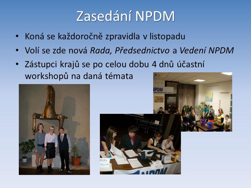 Zasedání NPDM Koná se každoročně zpravidla v listopadu