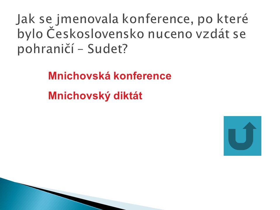 Jak se jmenovala konference, po které bylo Československo nuceno vzdát se pohraničí – Sudet