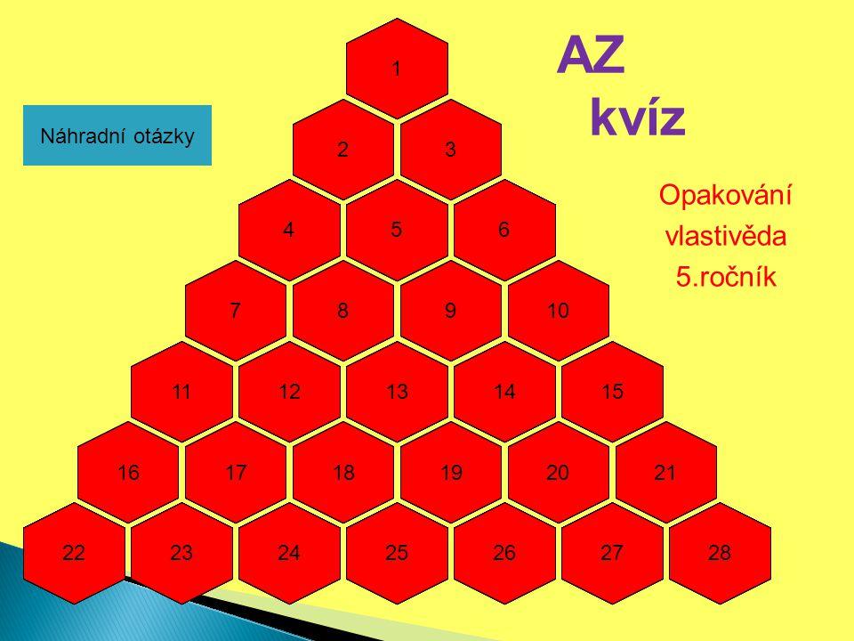 AZ kvíz Opakování vlastivěda 5.ročník 1 1 1 1 1 1 2 2 2 2 2 2 3 3 3 3