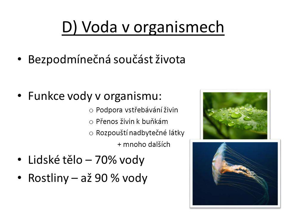 D) Voda v organismech Bezpodmínečná součást života