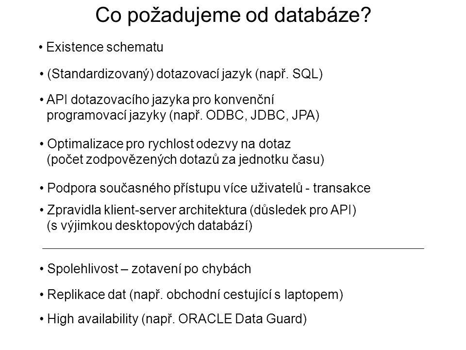 Co požadujeme od databáze