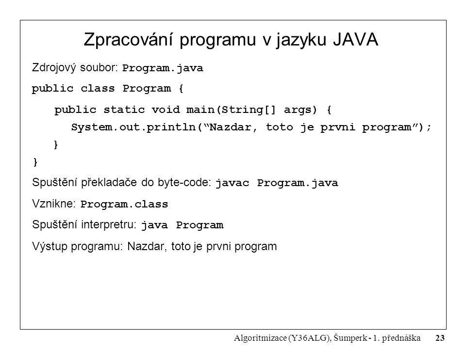 Zpracování programu v jazyku JAVA