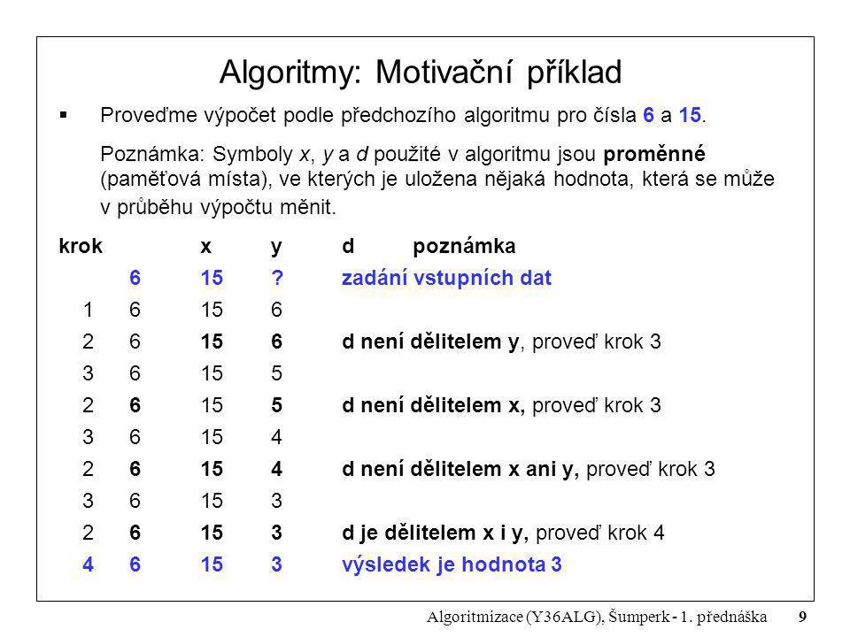 Algoritmy: Motivační příklad