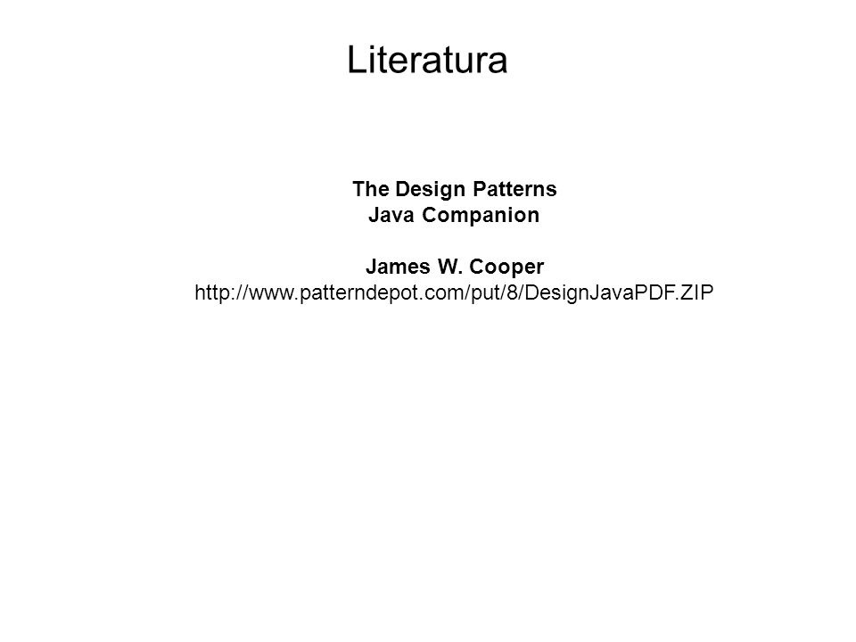 Literatura The Design Patterns Java Companion James W. Cooper