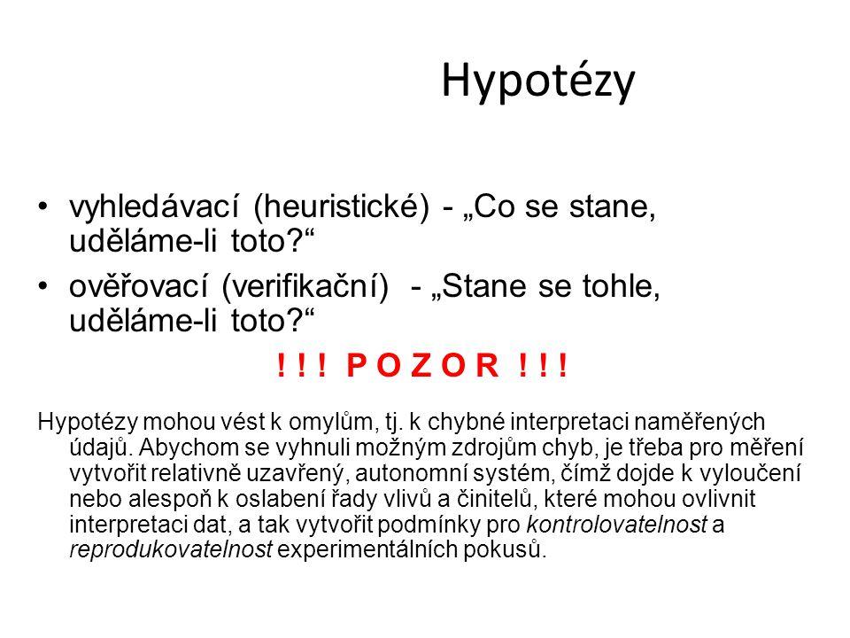 """Hypotézy vyhledávací (heuristické) - """"Co se stane, uděláme-li toto"""