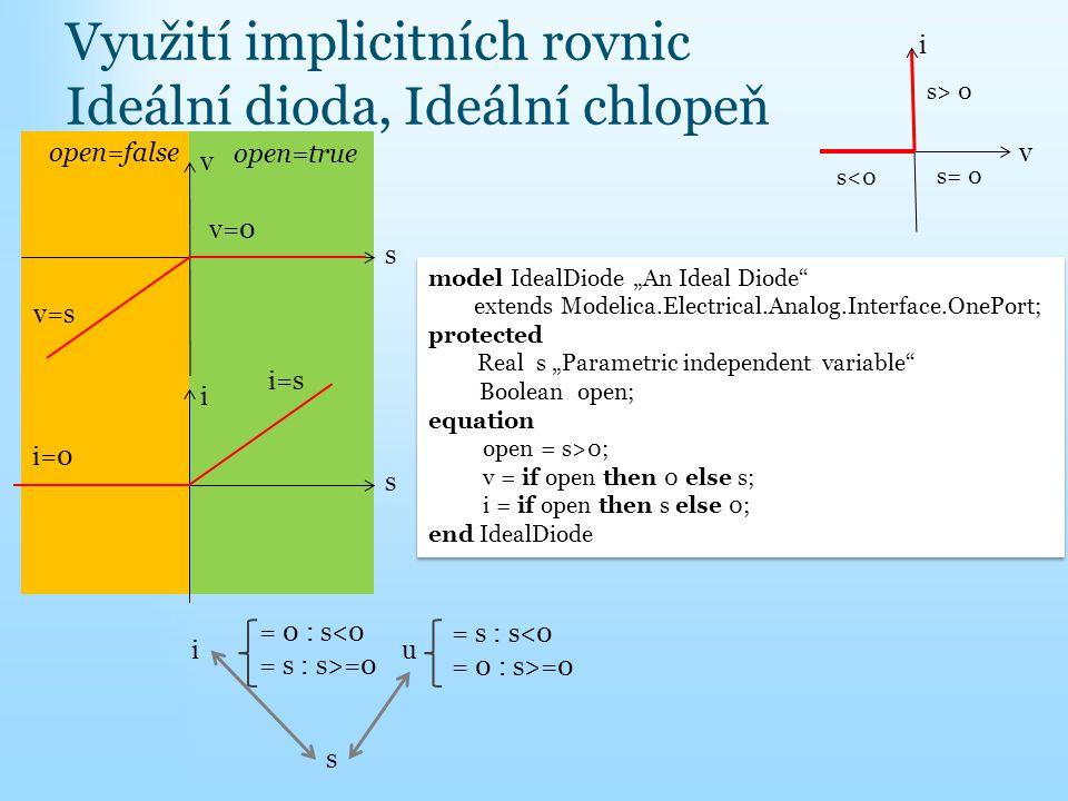Využití implicitních rovnic Ideální dioda, Ideální chlopeň