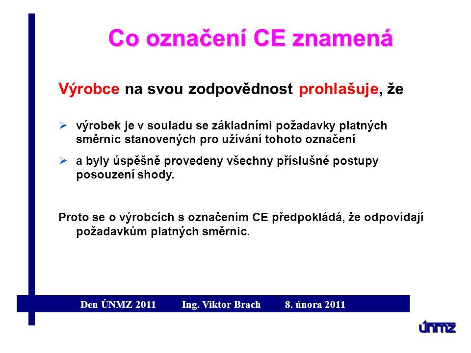 Co označení CE znamená Výrobce na svou zodpovědnost prohlašuje, že