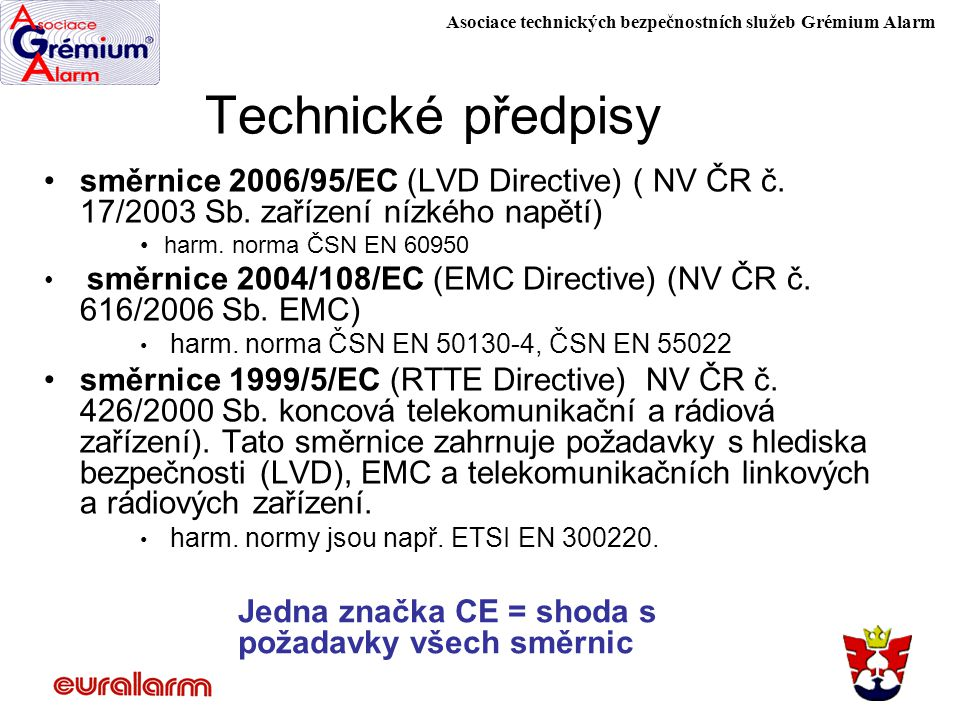 Technické předpisy směrnice 2006/95/EC (LVD Directive) ( NV ČR č. 17/2003 Sb. zařízení nízkého napětí)