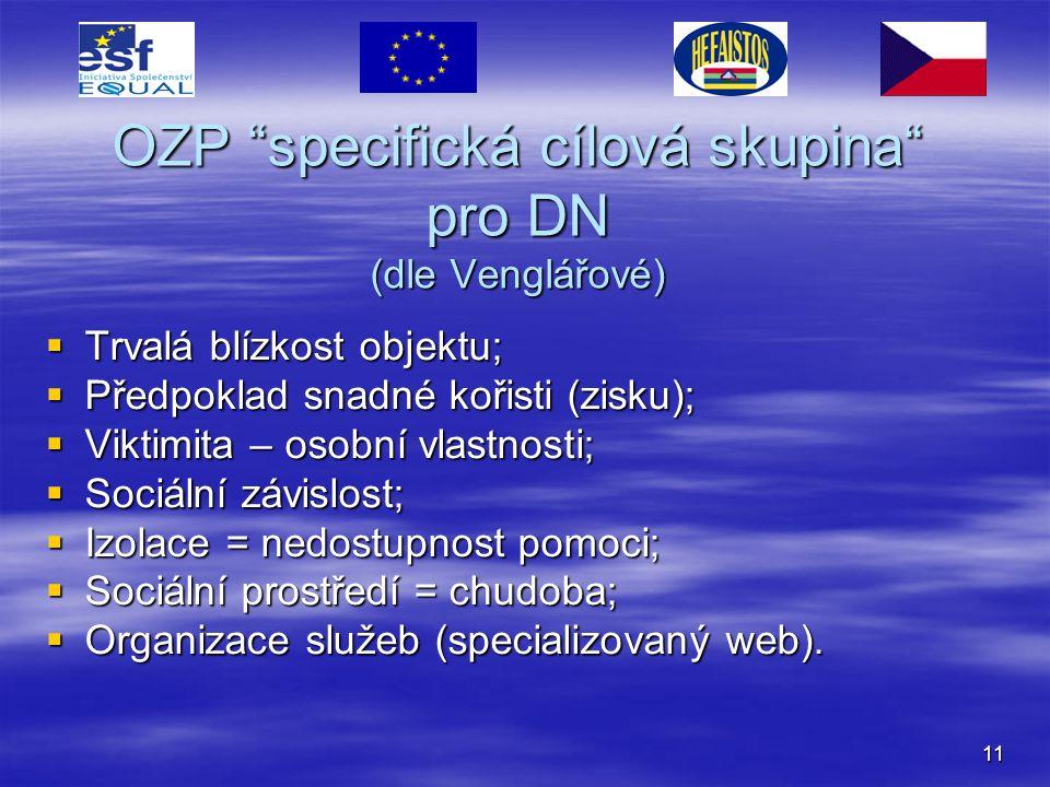 OZP specifická cílová skupina pro DN (dle Venglářové)