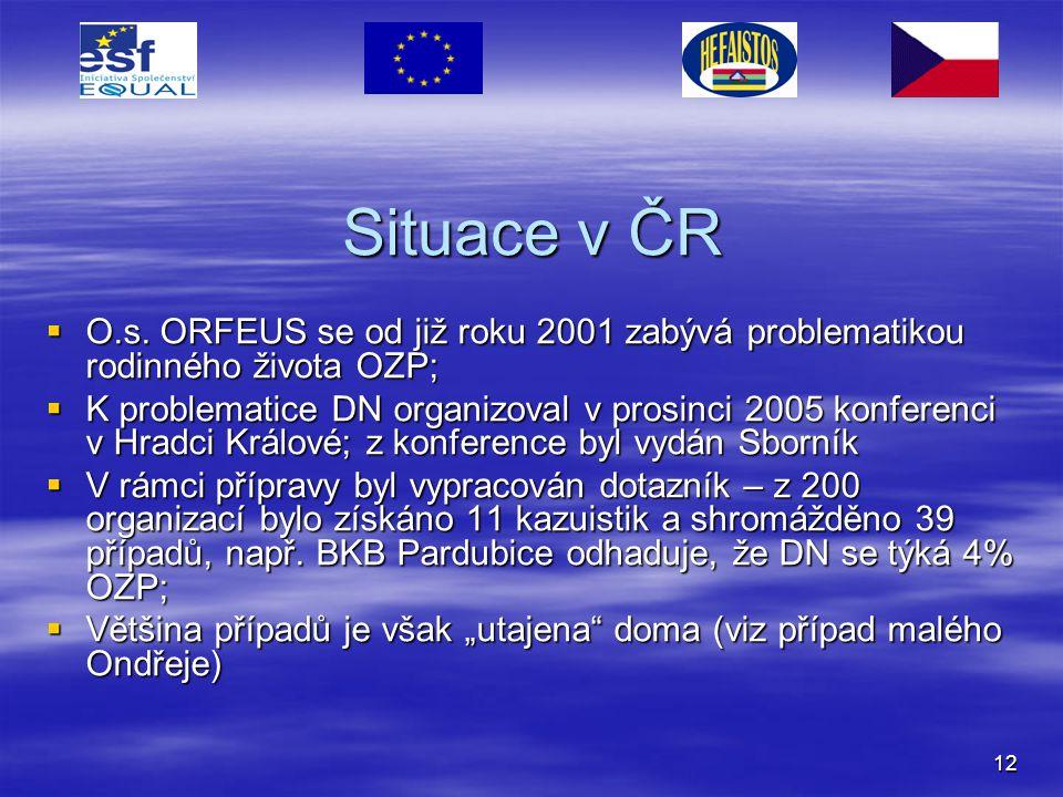 Situace v ČR O.s. ORFEUS se od již roku 2001 zabývá problematikou rodinného života OZP;