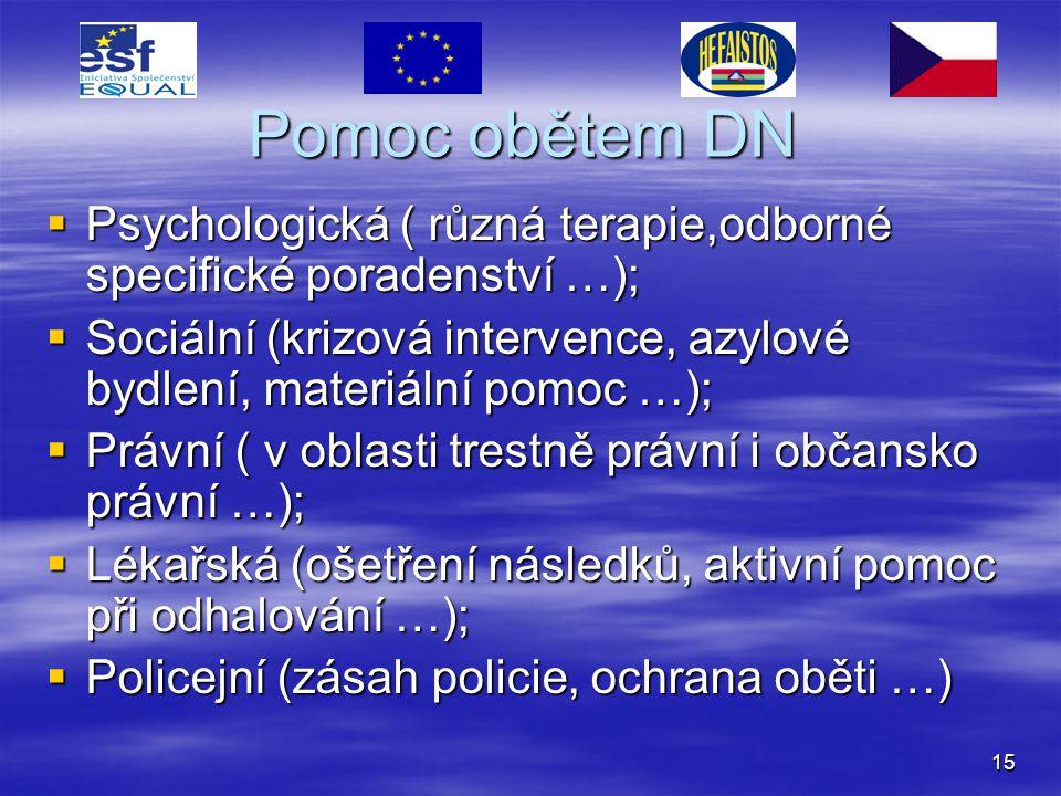 Pomoc obětem DN Psychologická ( různá terapie,odborné specifické poradenství …); Sociální (krizová intervence, azylové bydlení, materiální pomoc …);