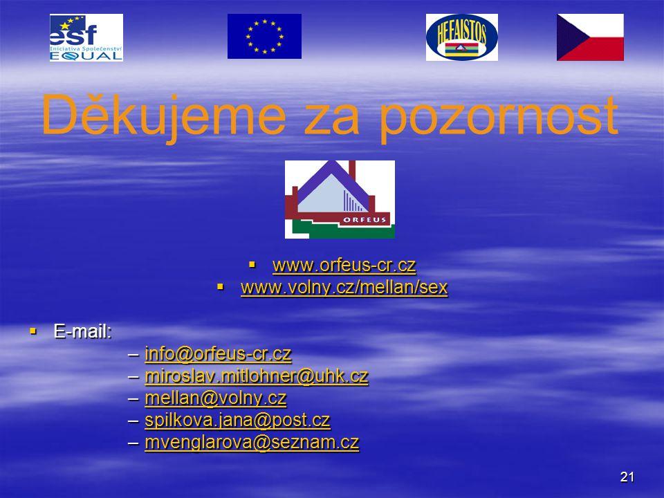 Děkujeme za pozornost www.orfeus-cr.cz www.volny.cz/mellan/sex E-mail: