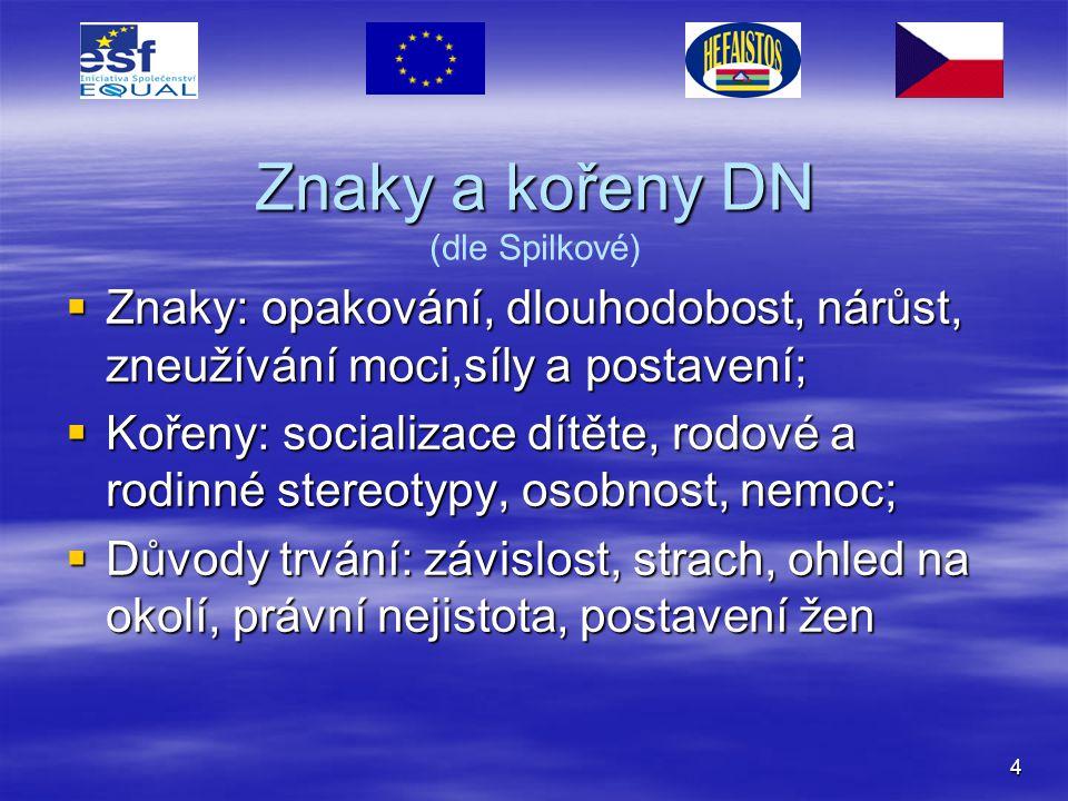 Znaky a kořeny DN (dle Spilkové)