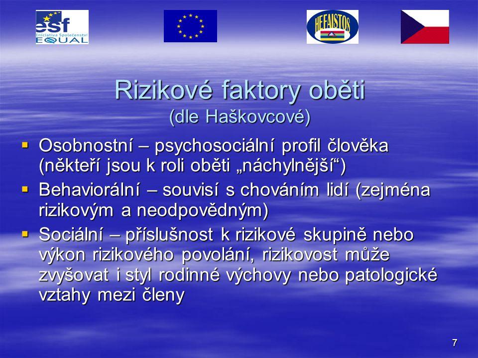 Rizikové faktory oběti (dle Haškovcové)