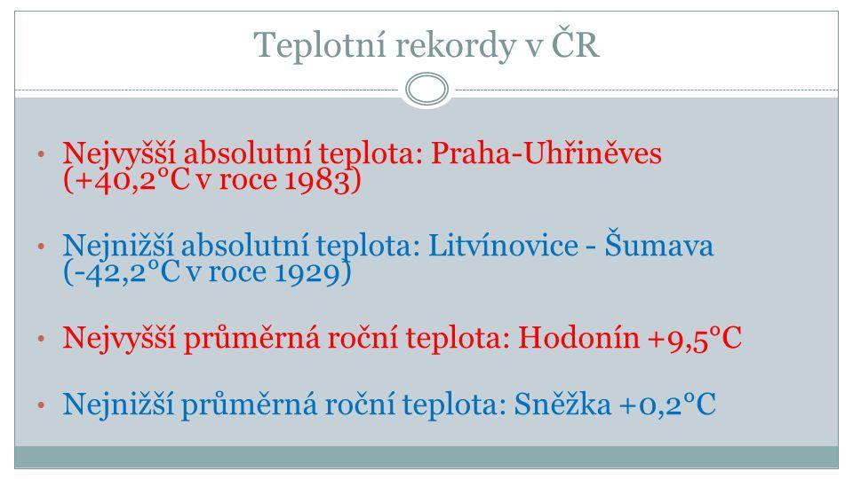 Teplotní rekordy v ČR Nejvyšší absolutní teplota: Praha-Uhřiněves (+40,2°C v roce 1983)