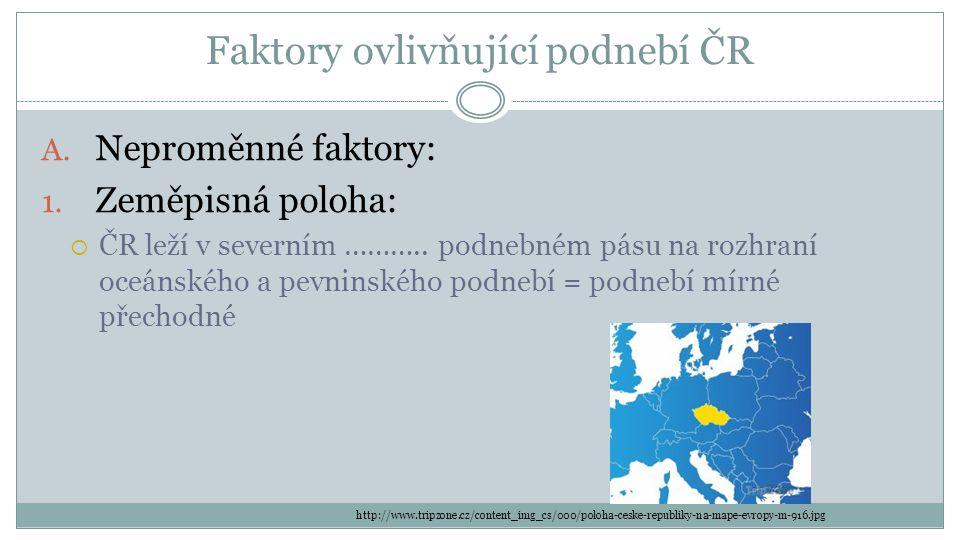 Faktory ovlivňující podnebí ČR