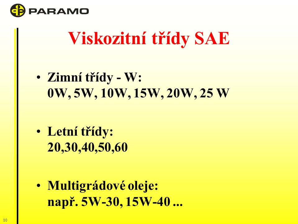 Viskozitní třídy SAE Zimní třídy - W: 0W, 5W, 10W, 15W, 20W, 25 W