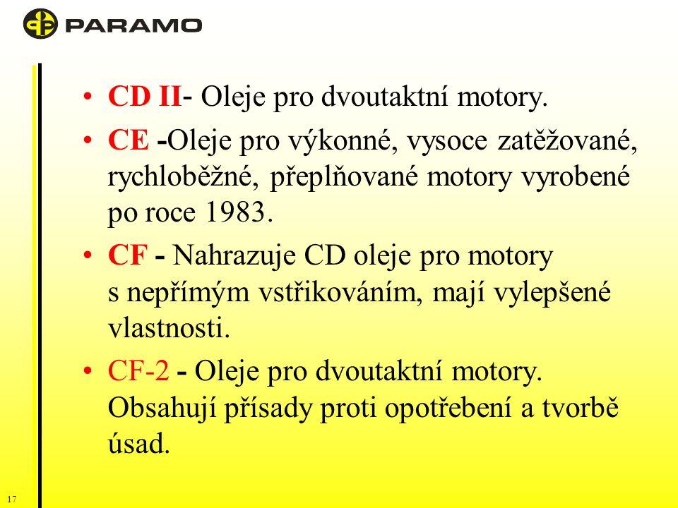 CD II- Oleje pro dvoutaktní motory.