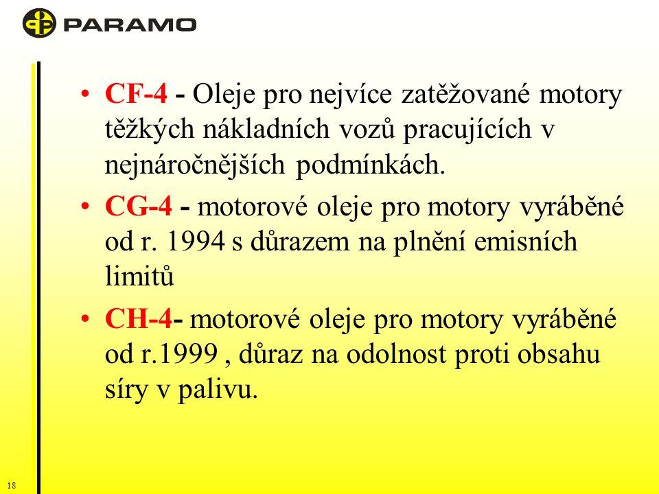 CF-4 - Oleje pro nejvíce zatěžované motory těžkých nákladních vozů pracujících v nejnáročnějších podmínkách.