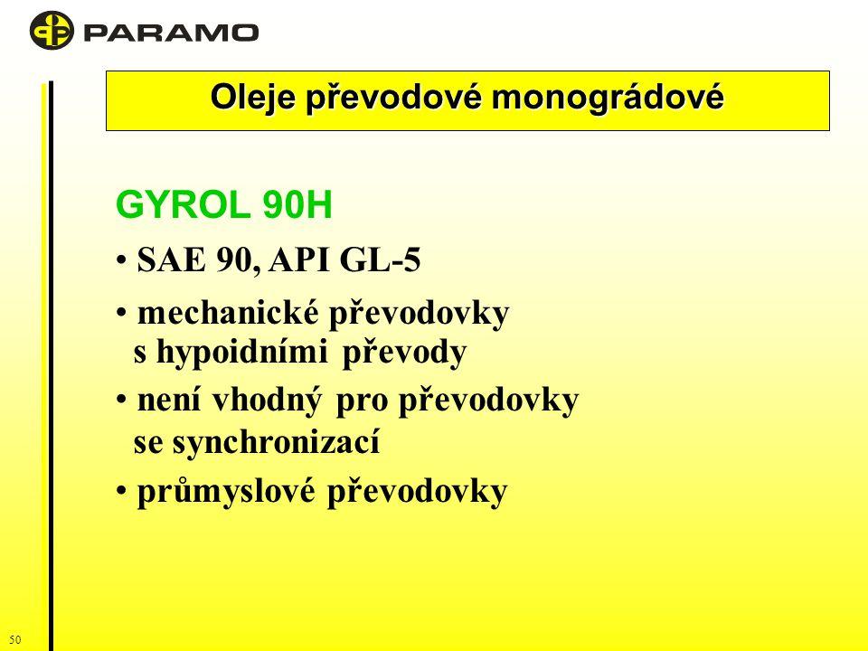 Oleje převodové monográdové