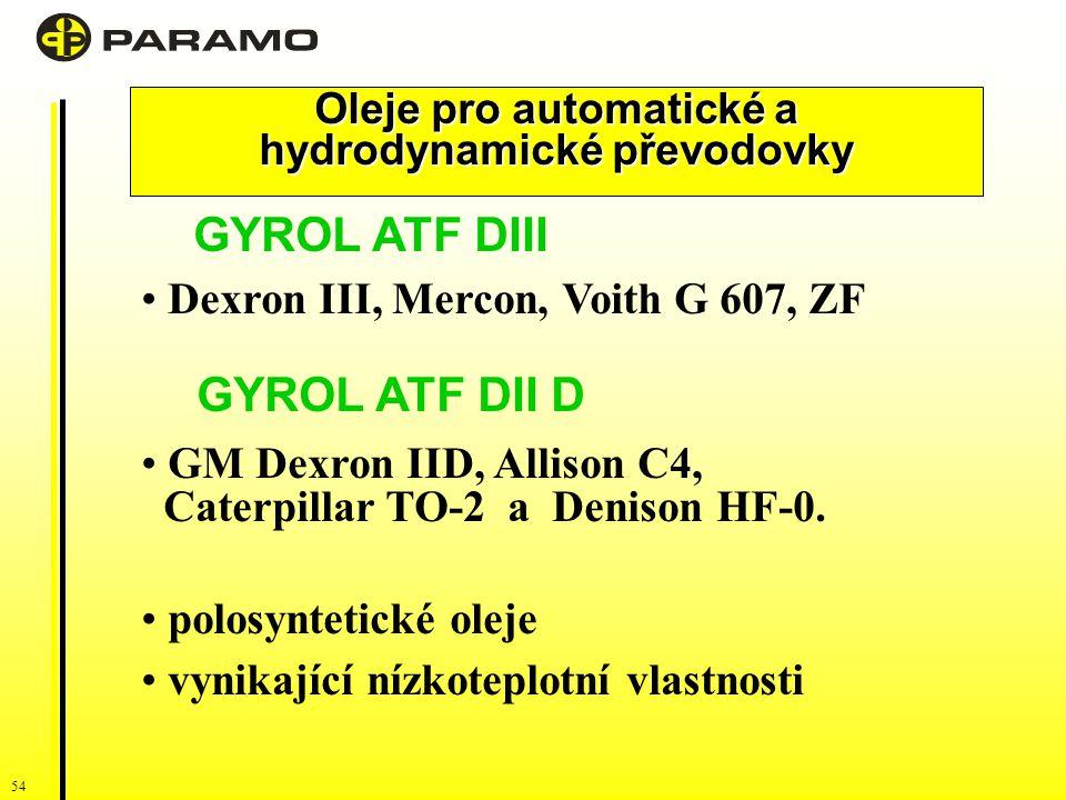 Oleje pro automatické a hydrodynamické převodovky