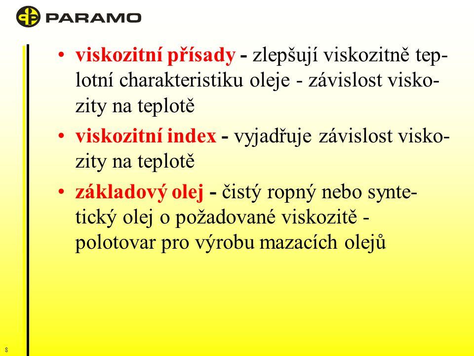 viskozitní přísady - zlepšují viskozitně tep-lotní charakteristiku oleje - závislost visko-zity na teplotě