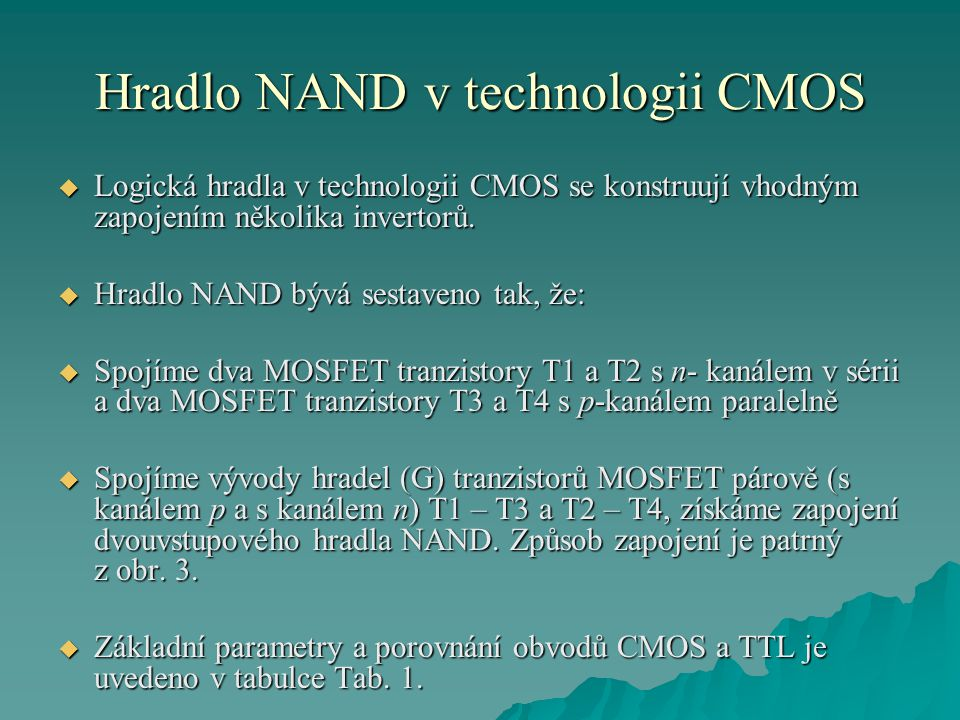 Hradlo NAND v technologii CMOS