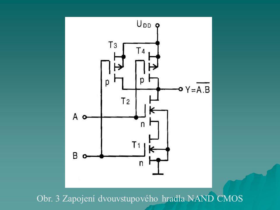 Obr. 3 Zapojení dvouvstupového hradla NAND CMOS