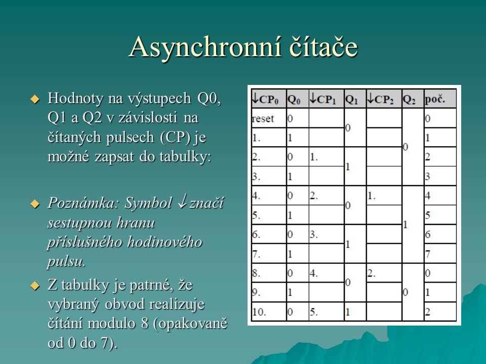 Asynchronní čítače Hodnoty na výstupech Q0, Q1 a Q2 v závislosti na čítaných pulsech (CP) je možné zapsat do tabulky: