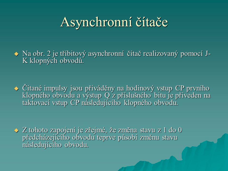 Asynchronní čítače Na obr. 2 je tříbitový asynchronní čítač realizovaný pomocí J-K klopných obvodů.
