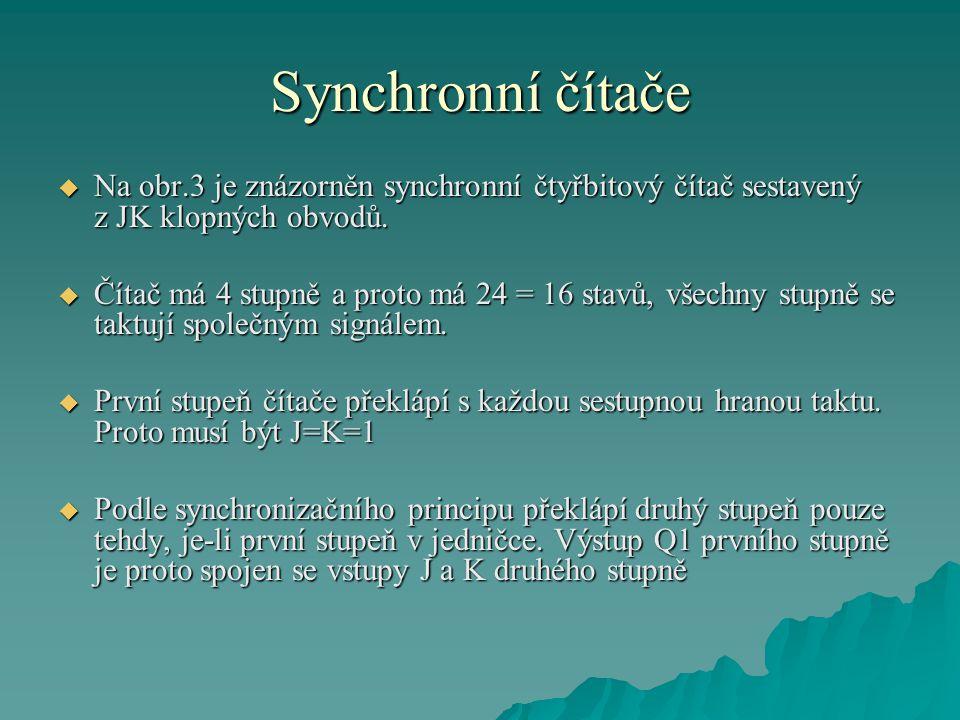 Synchronní čítače Na obr.3 je znázorněn synchronní čtyřbitový čítač sestavený z JK klopných obvodů.
