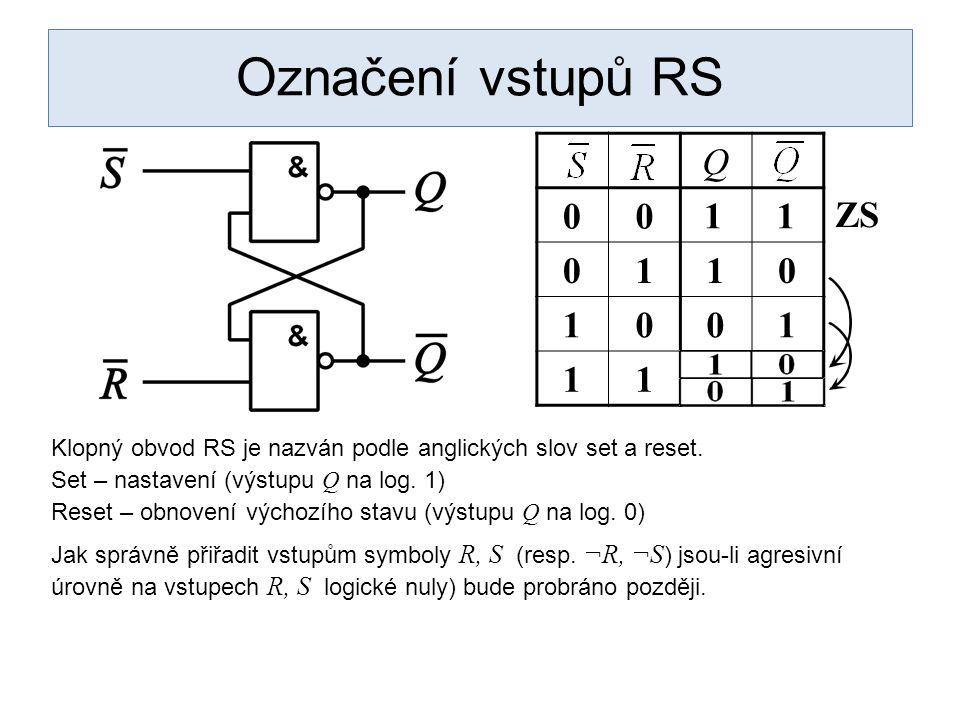 Označení vstupů RS Q. 1. 1. 1. ZS. Klopný obvod RS je nazván podle anglických slov set a reset.