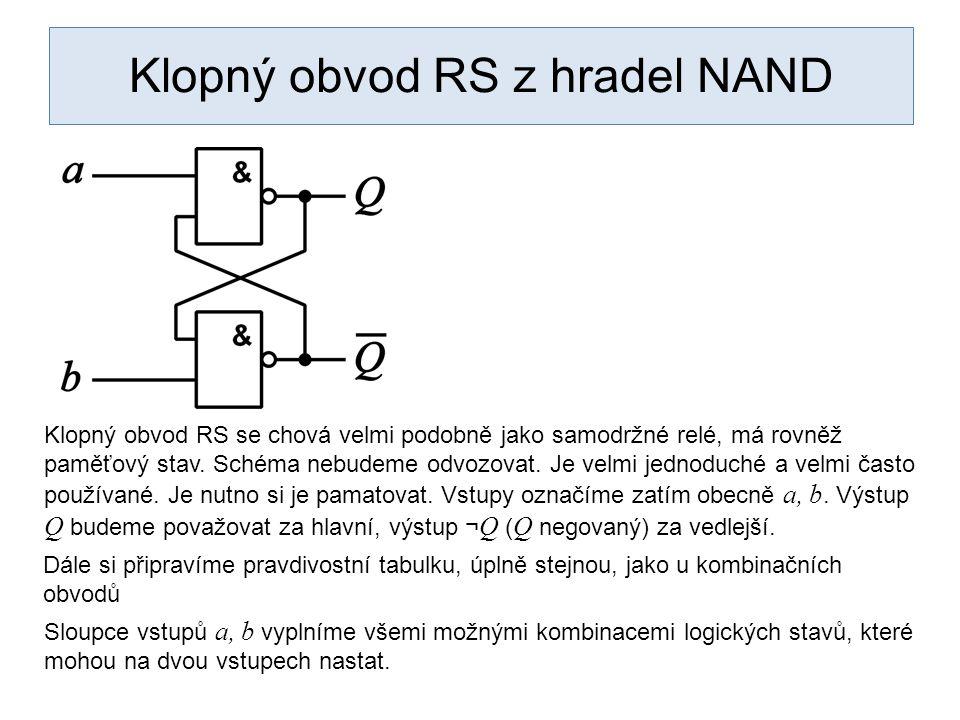 Klopný obvod RS z hradel NAND