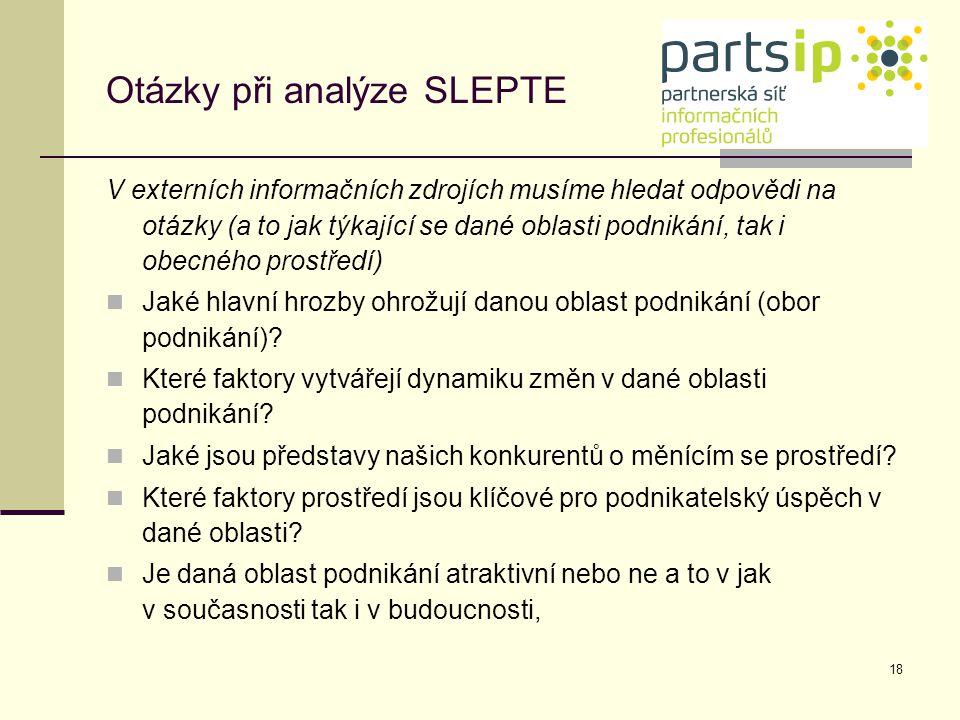 Otázky při analýze SLEPTE