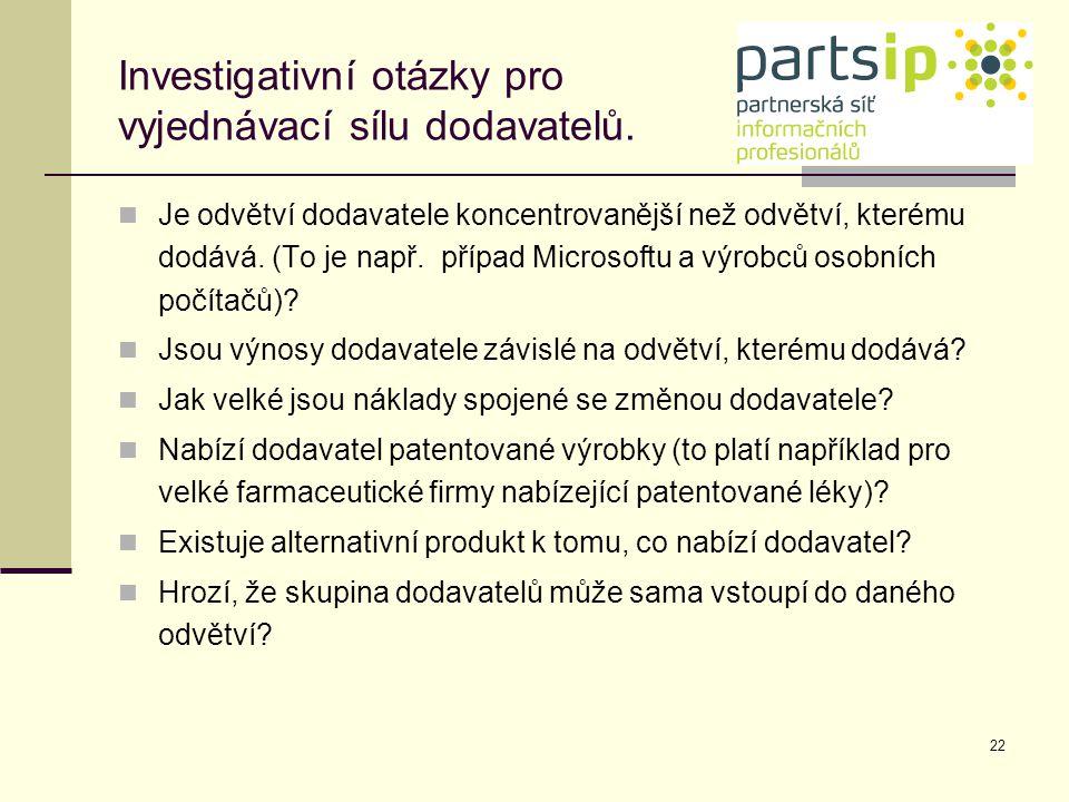 Investigativní otázky pro vyjednávací sílu dodavatelů.
