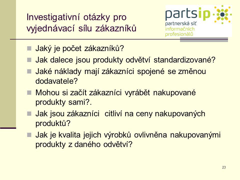 Investigativní otázky pro vyjednávací sílu zákazníků