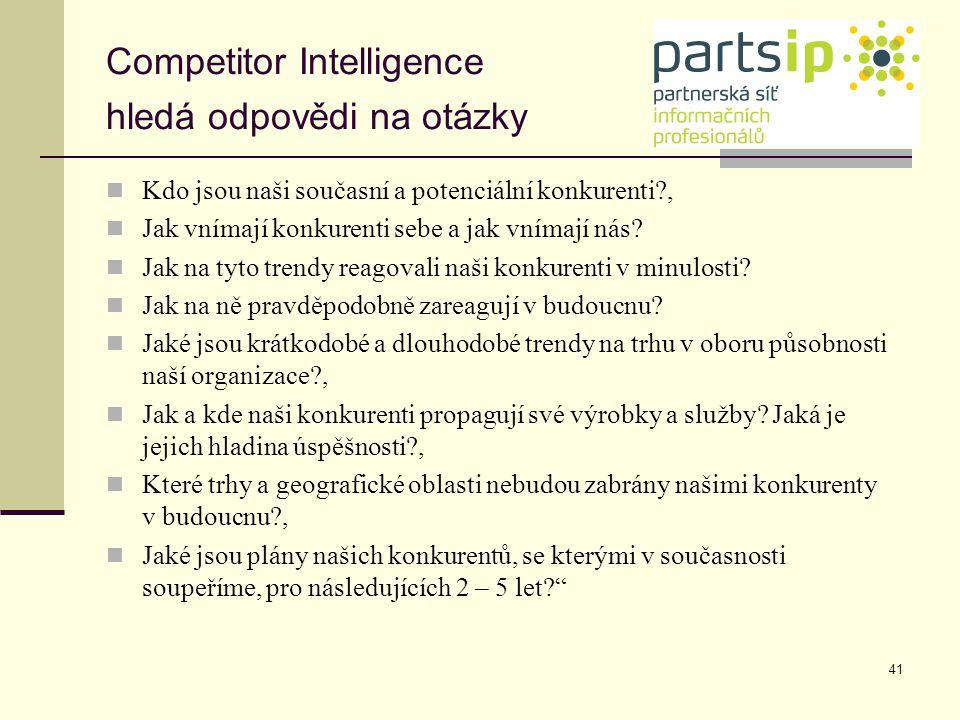 Competitor Intelligence hledá odpovědi na otázky