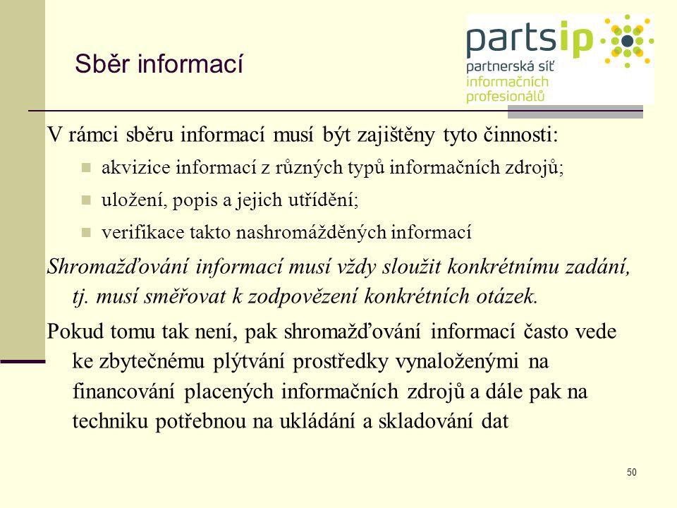 Sběr informací V rámci sběru informací musí být zajištěny tyto činnosti: akvizice informací z různých typů informačních zdrojů;