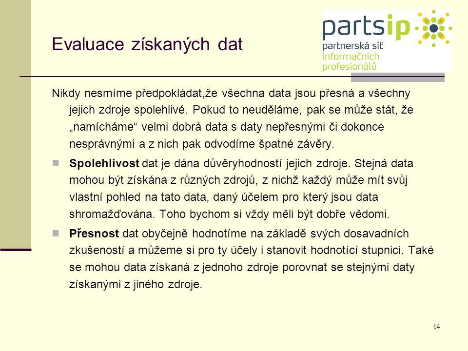 Evaluace získaných dat