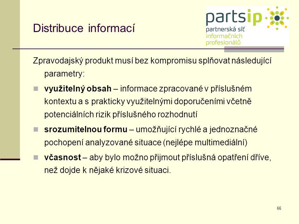 Distribuce informací Zpravodajský produkt musí bez kompromisu splňovat následující parametry: