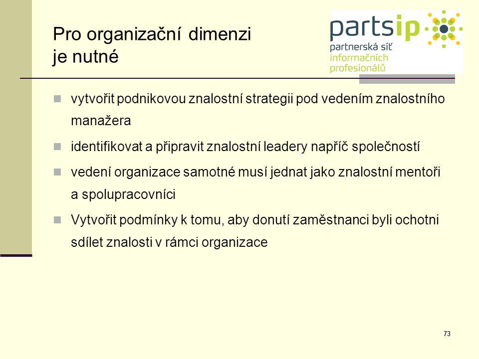 Pro organizační dimenzi je nutné
