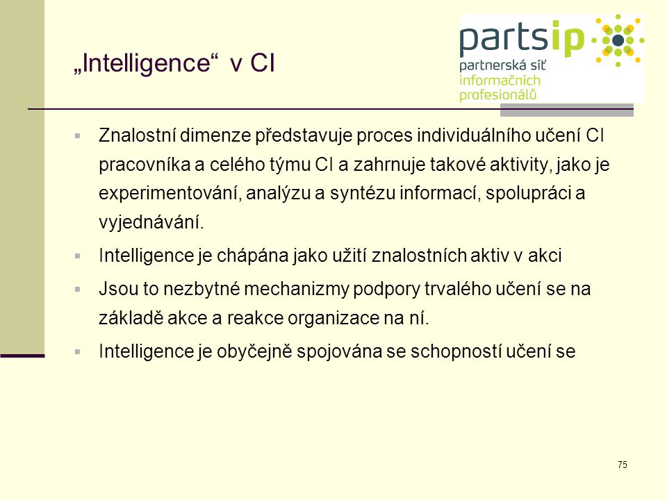 """Intelligence v CI"
