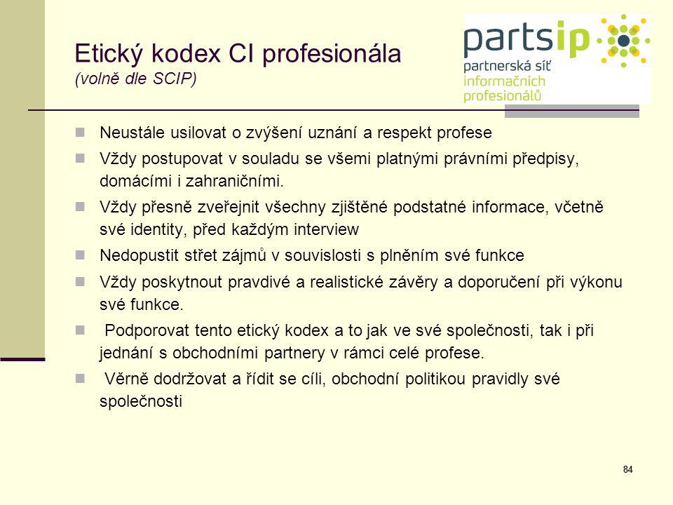 Etický kodex CI profesionála (volně dle SCIP)
