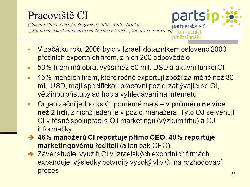 """Pracoviště CI (Časopis Competitive Intelligence 3/2006, výtah z článku: """"Studie na téma Competitive Intelligence v Izraeli , autor Avner Barnea)"""
