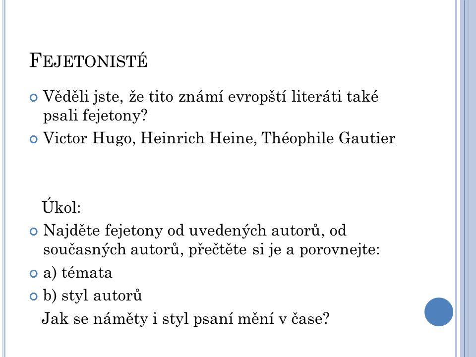 Fejetonisté Věděli jste, že tito známí evropští literáti také psali fejetony Victor Hugo, Heinrich Heine, Théophile Gautier.