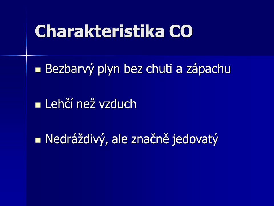 Charakteristika CO Bezbarvý plyn bez chuti a zápachu Lehčí než vzduch