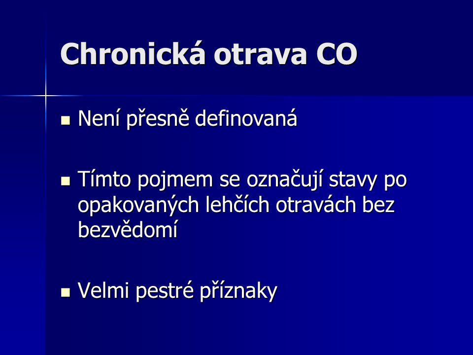 Chronická otrava CO Není přesně definovaná