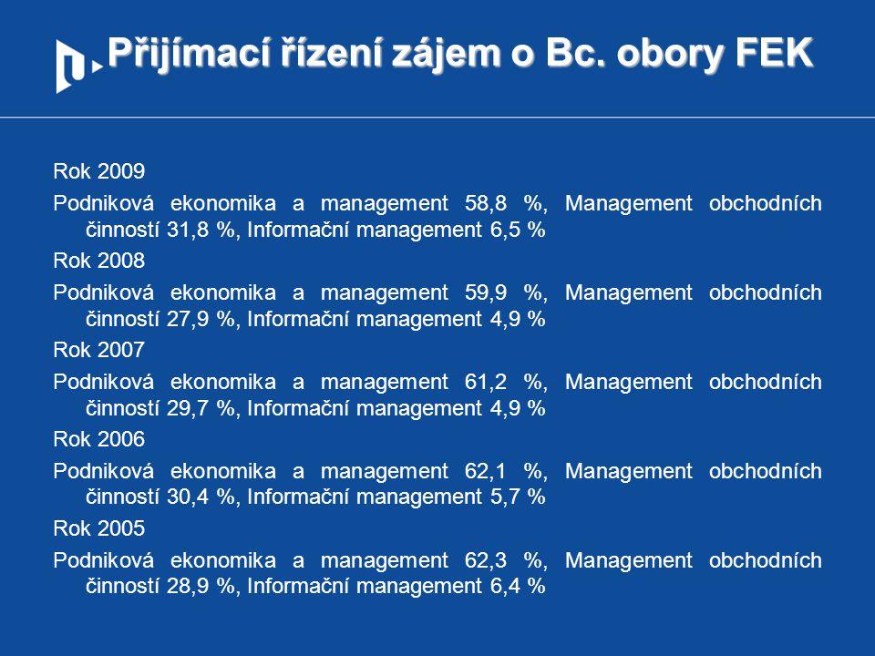 Přijímací řízení zájem o Bc. obory FEK